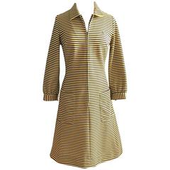 1970s Chemise Lacoste Yellow and Grey Striped Dress