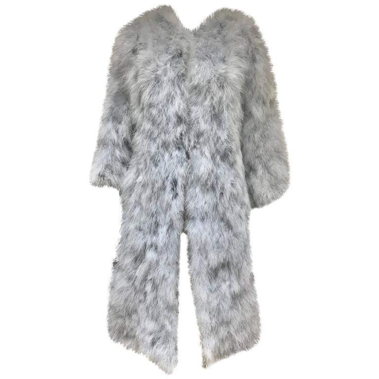 Vintage 1970s Vicky Valere light blue feather coat  1