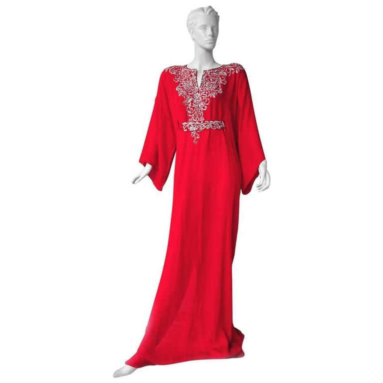 Oscar de la Renta Embroidered Silk Caftan with matching dress