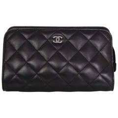 Chanel Black Lambskin Leather Quilted Cosmetic Bag/Clutch w/ Leather Lining