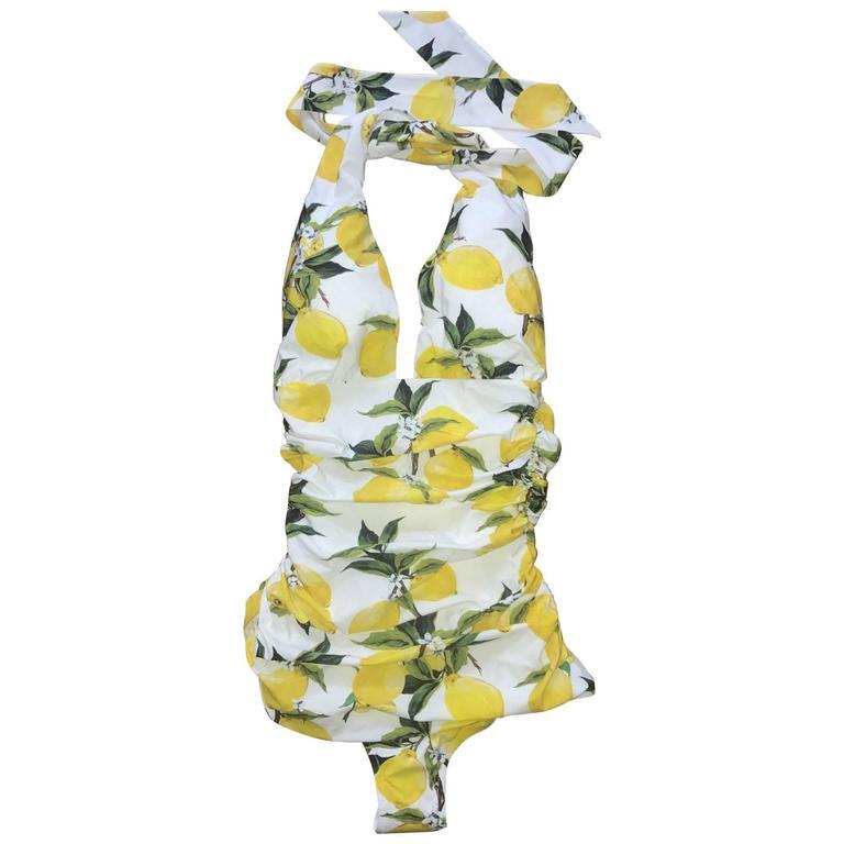 8d5750a6e3 Dolce & Gabbana New with Tags White Yellow Lemon Print Swim Suit Bathing  Suit For Sale