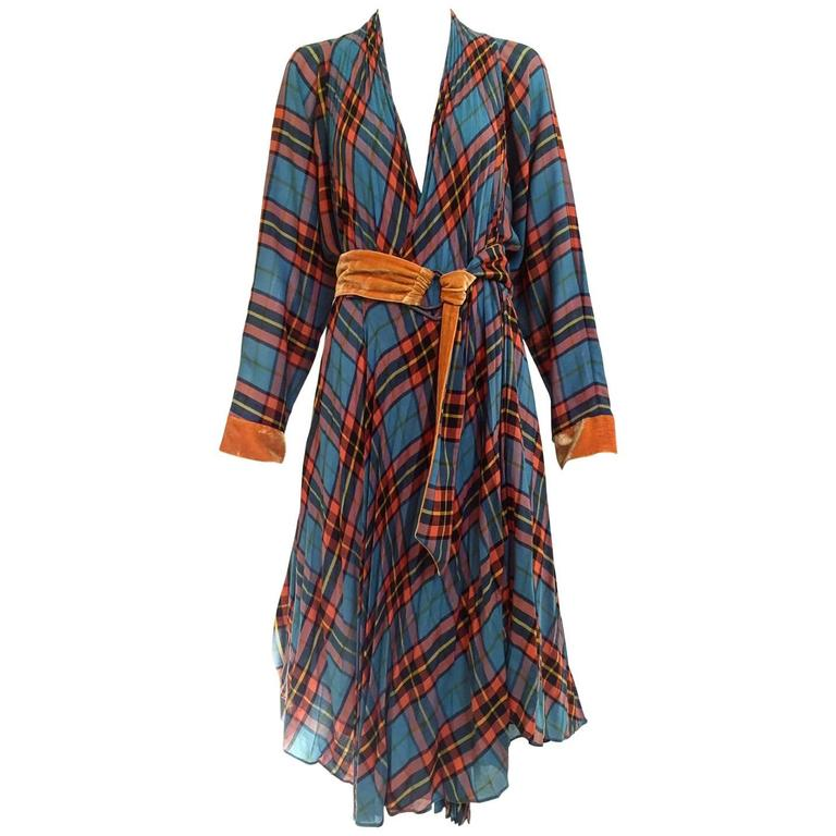 Jean Paul Gaultier plaid wrap dress