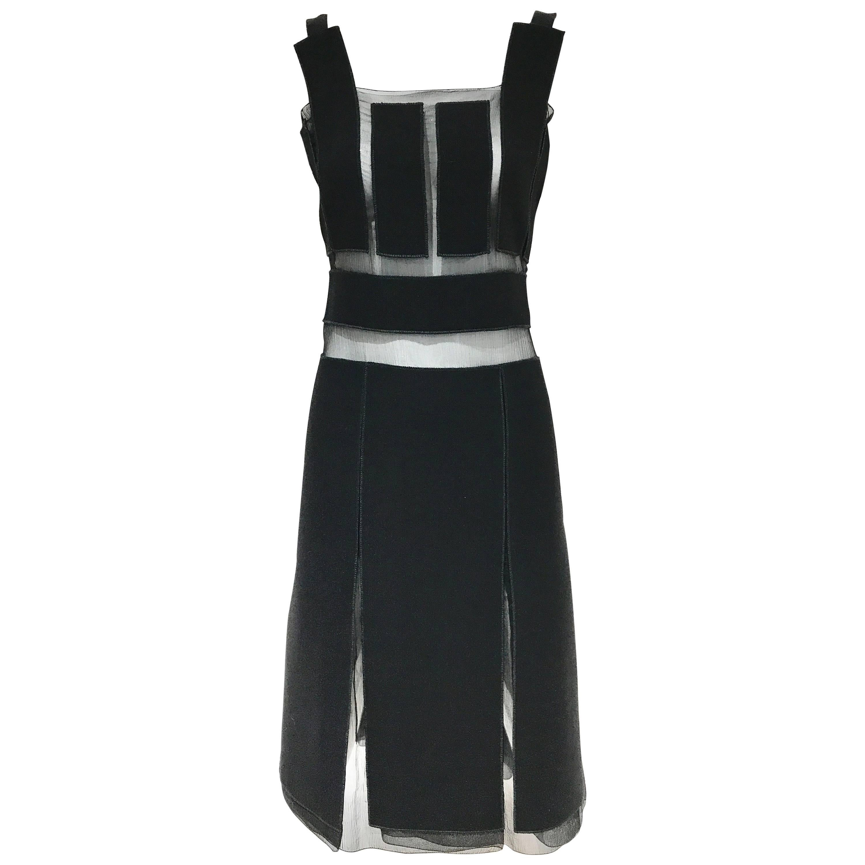 Vintage Prada black crepe and silk sheer panel cocktail dress