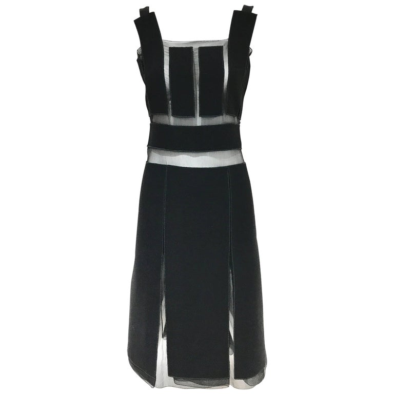 Vintage Prada black crepe and silk sheer panel cocktail dress For Sale