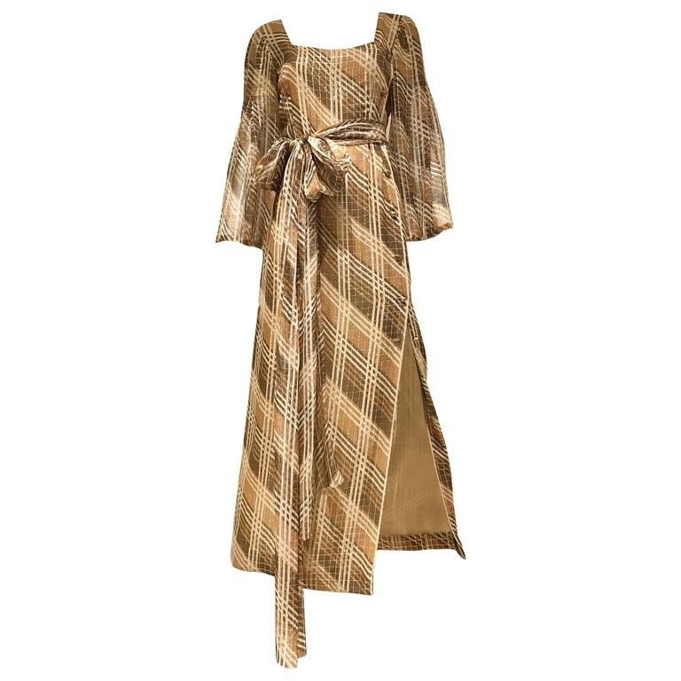 1970s Pauline Trigere brown metallic silk print summer dress