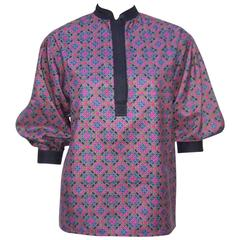 Vibrant 1970's Yves Saint Laurent Rive Gauche Mandarin Silk Blouse