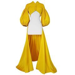 Extraordinary 1940s Yellow Silk Satin Full Length Skirted Jacket