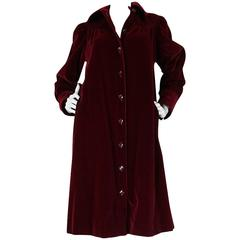 1970s Yves Saint Laurent Demi-Couture Garnet Velvet Smock Coat