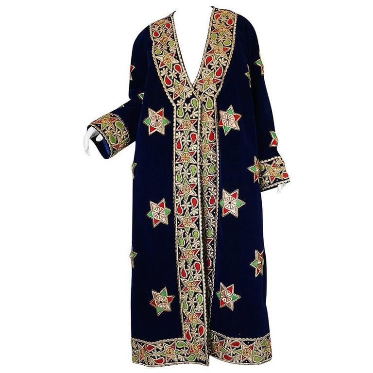 1960s Deep Blue Velvet & Embroidered Star Applique Coat