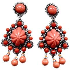 Larry Vrba Oversized Coral Lucite Earrings