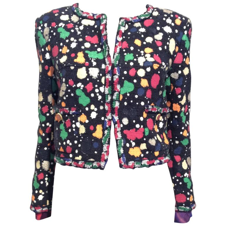 Chanel Paint Splatter Print Navy Cotton Mix Cropped Jacket For Sale