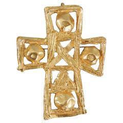 Vintage 1990's Christian Lacroix Large Matte Gold Cross Pin Pendant