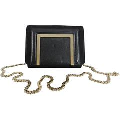Jimmy Choo Ava Black Shimmer Suede and Lamé Glitter Clutch Bag