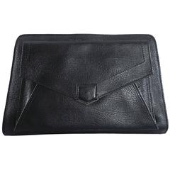 Proenza Schouler Black Clutch Bag with Silver Zipper