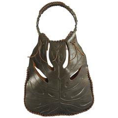 Valentino Brown Jungle Leaf Leather Bag with Metal Rings