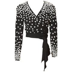 Valentino Jersey Beaded Wrap Top
