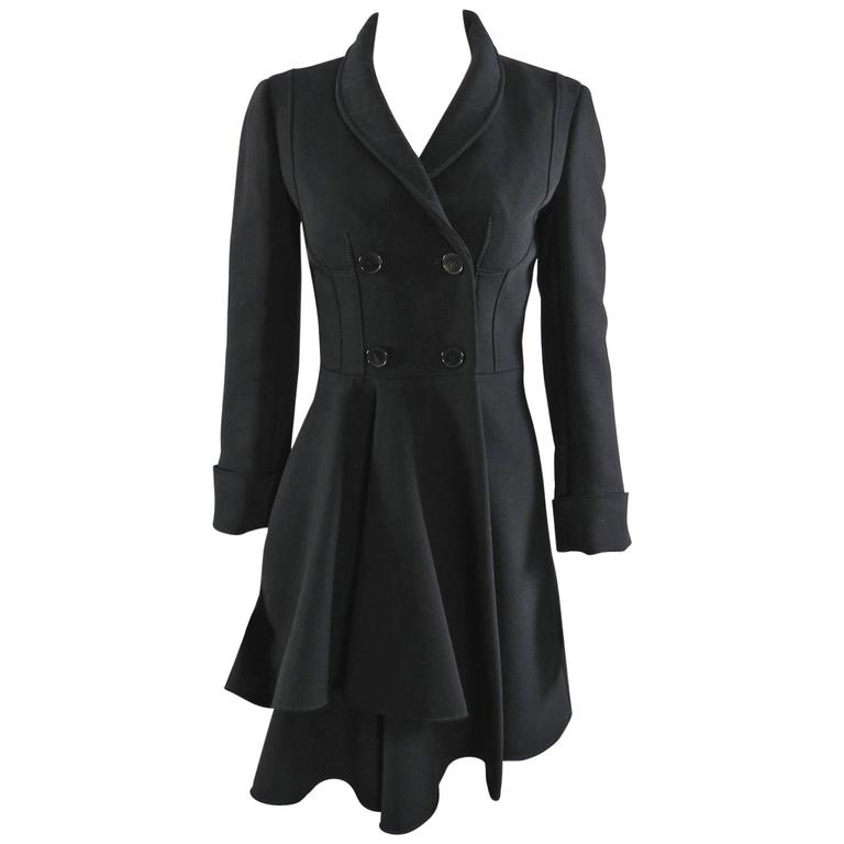Alexander McQueen Black Scuba Coat with Asymetrical Ruffle For Sale