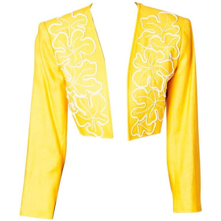 Yves Saint Laurent Cropped Linen jacket