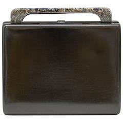 1980s Rodo Pewter Minaudiere Clutch with Faux Granite Detailing