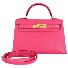 Hermes Mini 20cm II Rose Lipstick Pink Cherve Gold GHW hardware