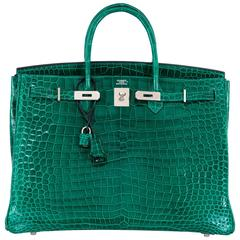 Hermes Birkin Bag 40cm Vert Emerald Porosus Crocodile Impossible Find