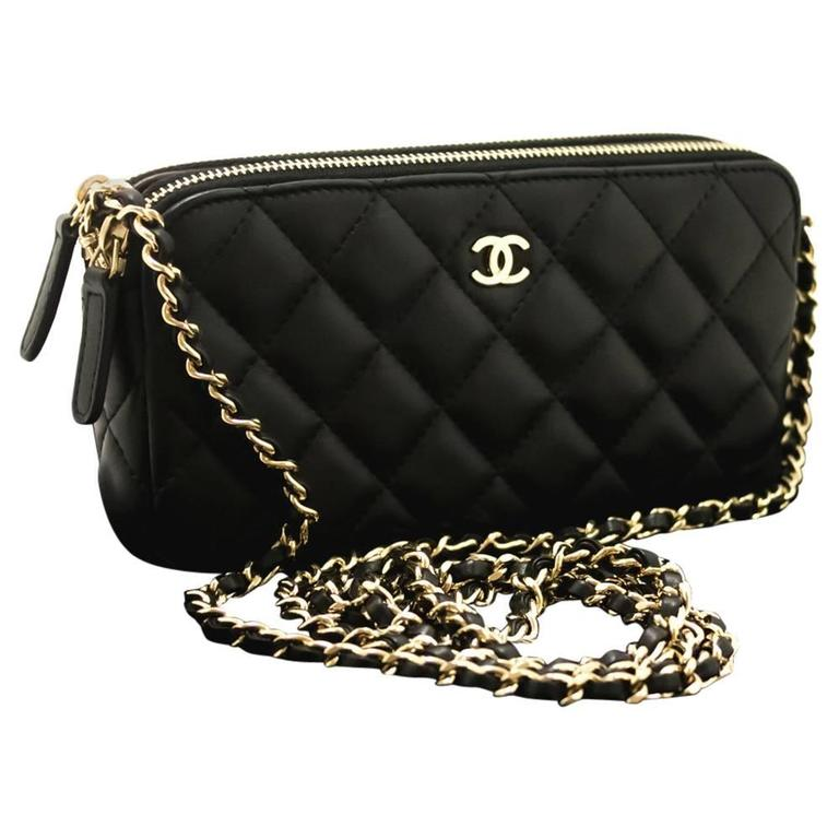 CHANEL 2016 Never Used WOC Chain Shoulder Bag Crossbody Black at 1stdibs