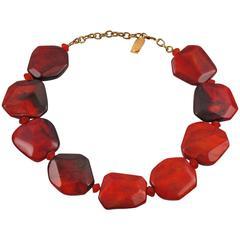 Dominique Denaive Paris Signed Resin Pebble Necklace Bronze Red Color