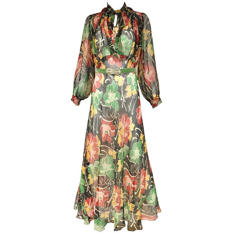 1930s Floral print silk chiffon dress  1