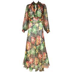 1930s Floral print silk chiffon dress