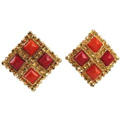 Edouard Rambaud Paris Signed Byzantine Clip On Earrings Red and Orange Color