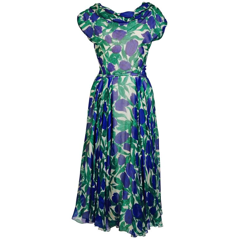 1950's BONWIT TELLER vibrant floral silk dress