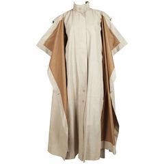 1980's ISSEY MIYAKE tan oversized full length draped coat