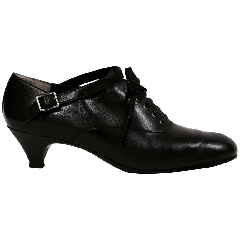 1980's COMME DES GARCONS black leather oxford heels with ankle strap