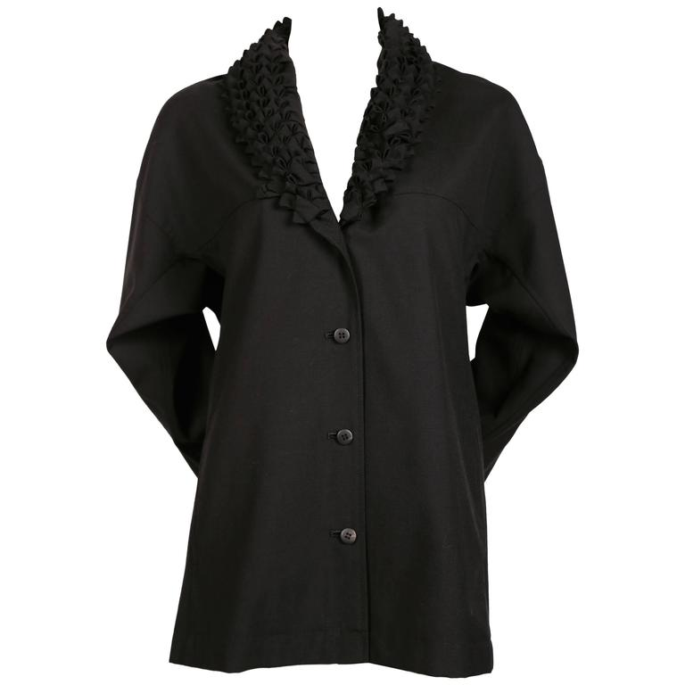 ISSEY MIYAKE black wool & cashmere jacket with origami collar