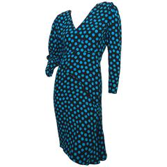 Emanuel Ungaro Parallele Silk Dress with Polka Dots 1980s Size S
