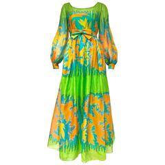 1970s Malcolm Starr green silk print maxi dress