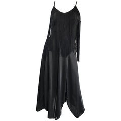Amazing 1970s Black Disco Fringe Handkerchief Hem Flapper Style Vintage Dress