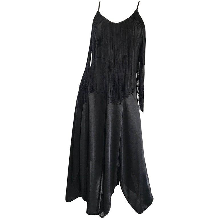 Amazing 1970s Black Disco Fringe Handkerchief Hem Flapper Style Vintage Dress  For Sale