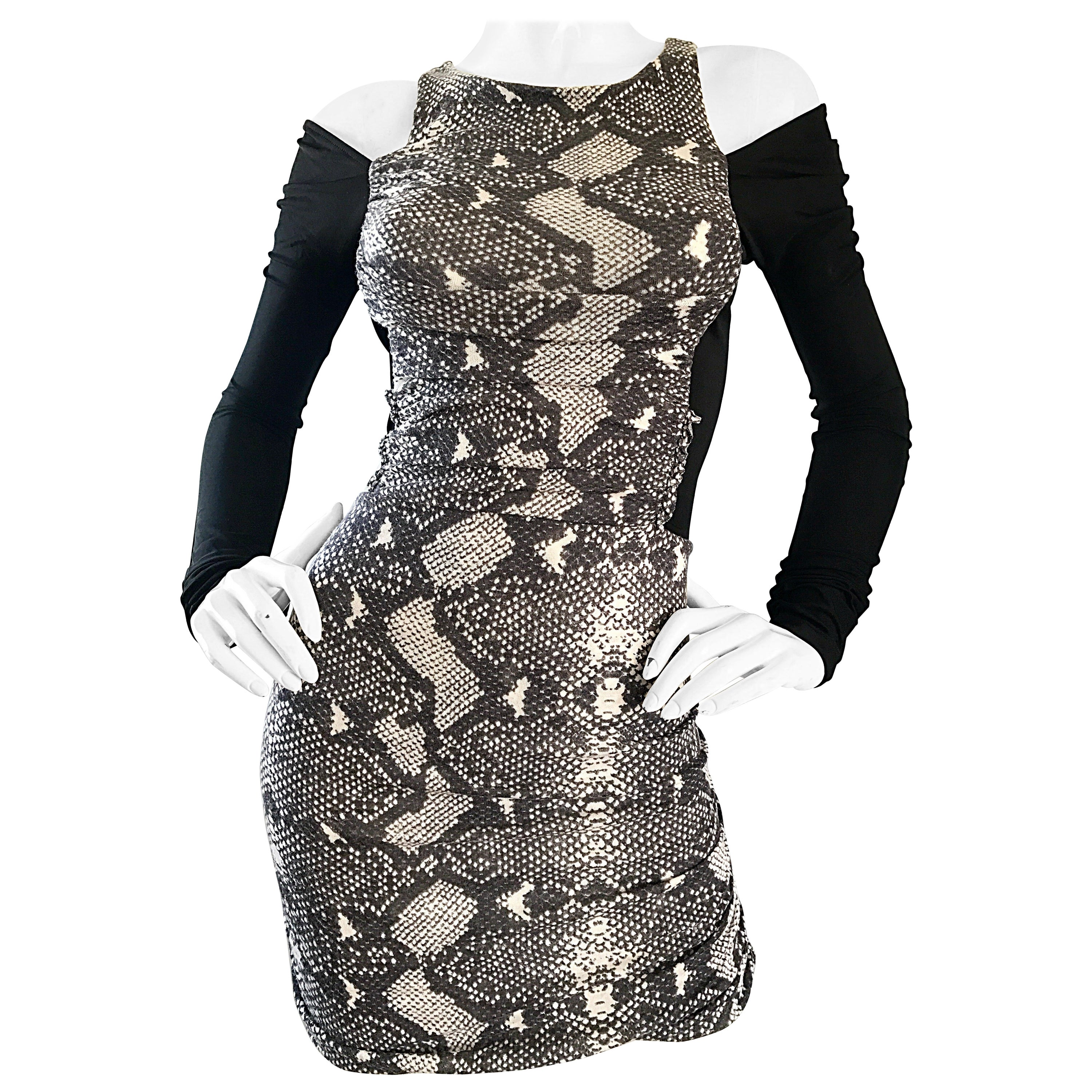 1990s PIERRE BALMAIN Black and White Snakeskin Cold Shoulder Sexy Dress