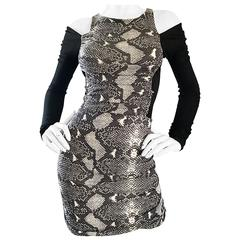 Amazing 1990s PIERRE BALMAIN Black and White Snakeskin Cold Shoulder Sexy Dress