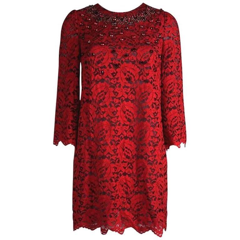 Dolce & Gabbana Crystal Embellished Red Lace & Silk Dress