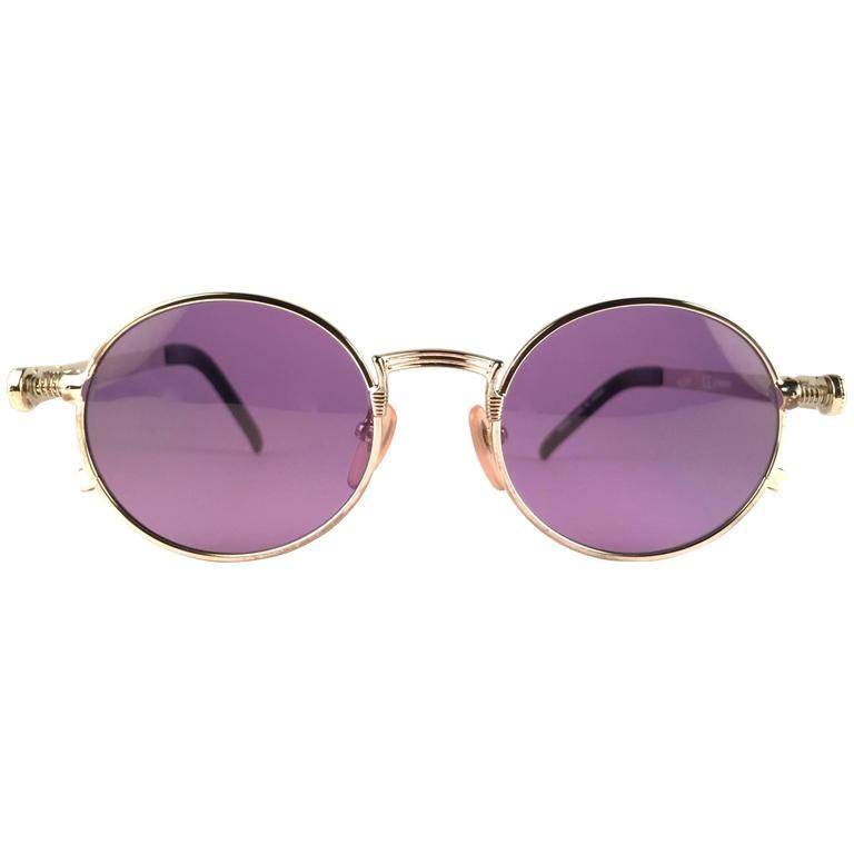 New Jean Paul Gaultier 56 4178 Round Silver Dark Purple Sunglasses 1990's Japan For Sale
