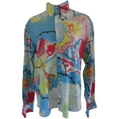 Versace light blu multicoloured Cotton Shirt