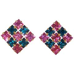 1950's Pink & Green Austrian Crystal Rhinestone Earrings