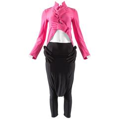 Comme des Garcons Autumn-Winter 2007 hot pink and black glove pant suit