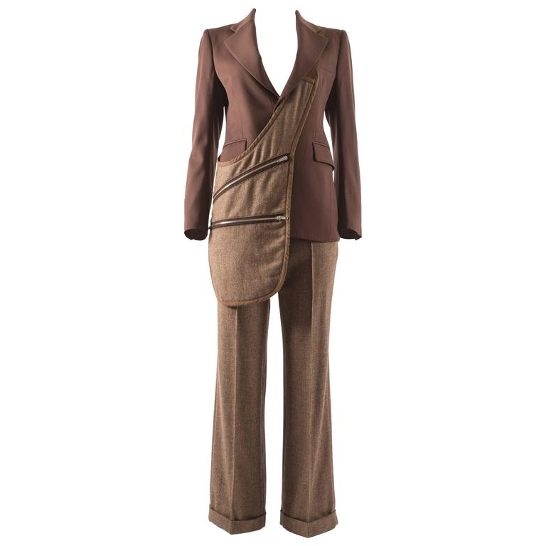 Maison Martin Margiela Autumn-Winter 1998 brown tweed pant suit with saddle bag