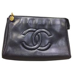 "Chanel Black Caviar Leather ""CC"" Pouch"