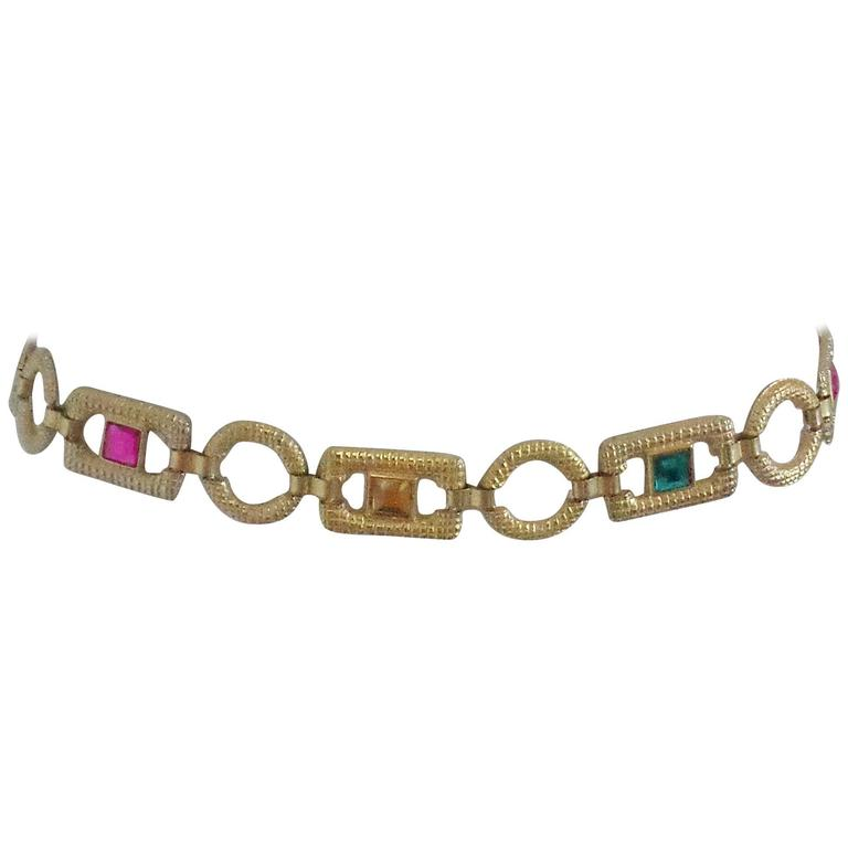 Gold tone faux multicoloured stones Belt