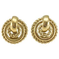 1980s Dior Gold-Tone Round Clip-On Earrings