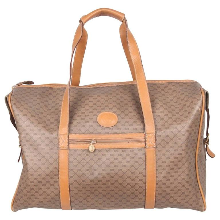 fb034cf08416 GUCCI VINTAGE Tan GG MONOGRAM Canvas WEEKENDER Travel Bag at 1stdibs